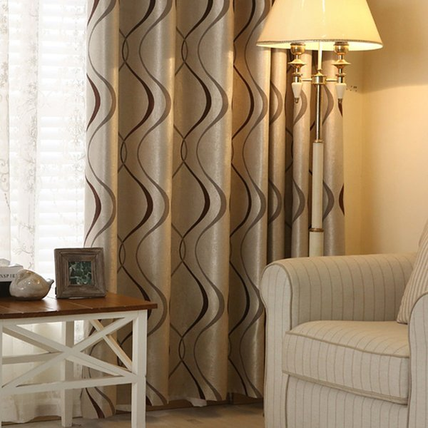 top popular Thick Luxury Wavy Striped Kitchen Curtain for Living Room Bedroom Curtains Decoration Modern Blackout Curtains 2020