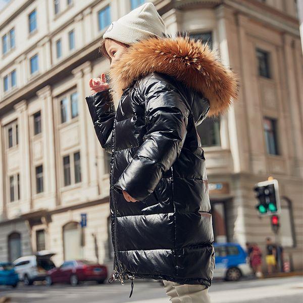 Fille d'hiver Manteau col fourrure de raton laveur solide blanc brillant canard Vestes coupe-vent chaud Vêtements pour enfants Vêtements Parkas