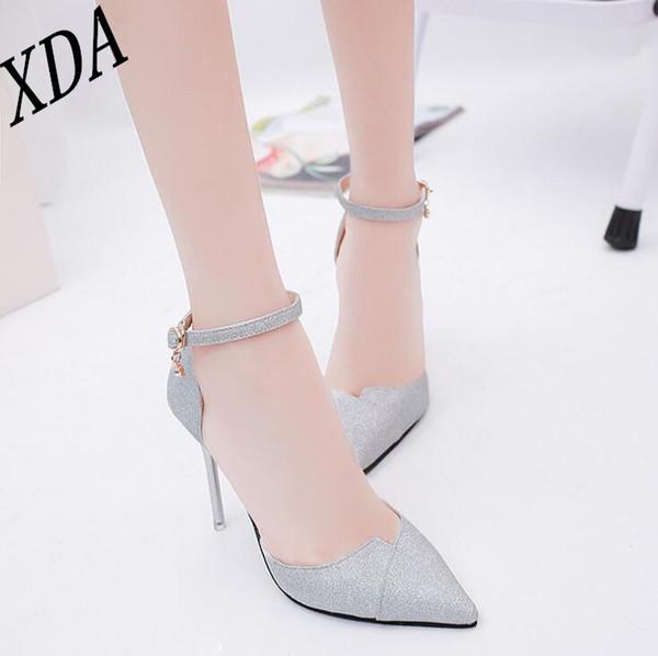 Designer Dress Shoes XDA Fashion Buckle Crystals Pumps Women Elegant Thin High Heels Point toe Party Wedding Woman golden Sliver Black W69
