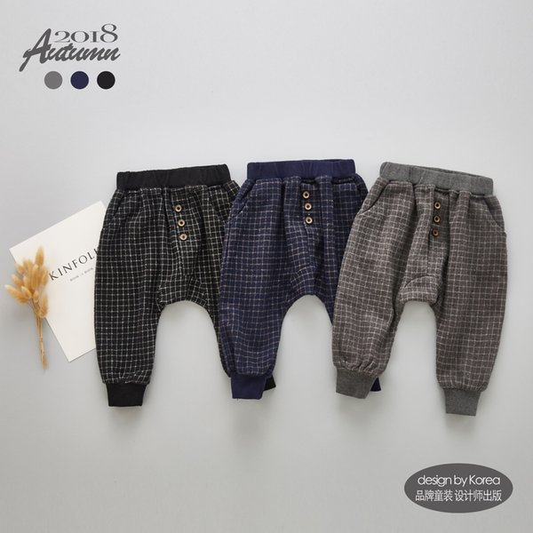 2019 Autumn Toddler Baby Pants 100% Cotton Infant Pants Plaid Pattern Lovely Harem PP Pants for Trousers Wool Clothes Drop Ship