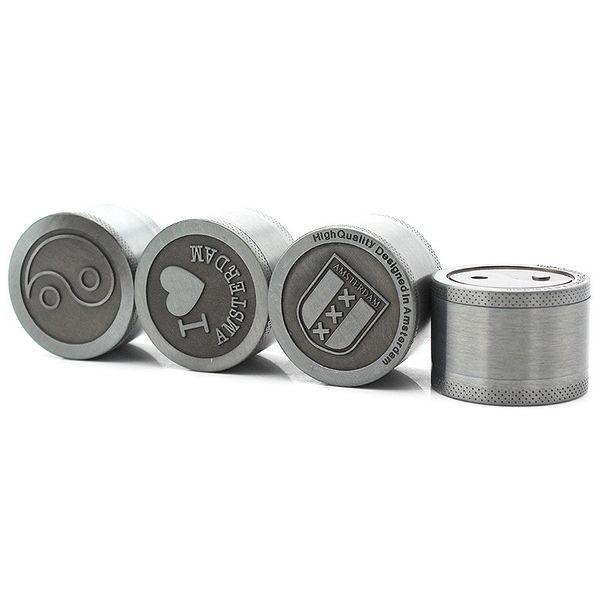 40mm Amsterdam Bulldog Herbal Grinder Tobacco Spice Cracker 3 Pieces Zinc Alloy Metal Herb Grinder K110