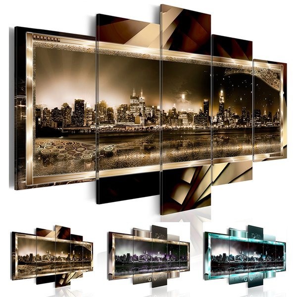 5 Pcs/set Canvas Print (No Frame) Abstract New York City Landscape Night View Wall Decoration Canvas Painting for Living Room Gifts for Frie