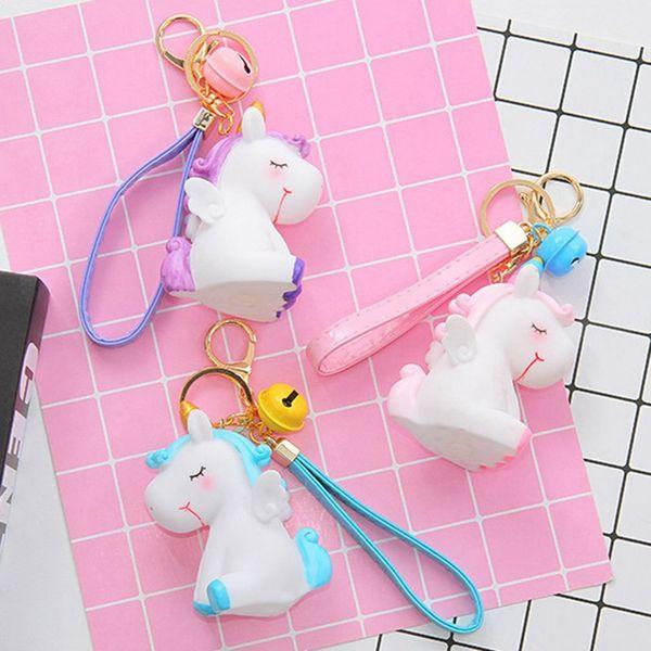 Cartone animato Morbido PVC Unicorno Portachiavi In gomma Anime Simpatico animale Cavallo Portachiavi Portachiavi Giocattolo per bambini Supporto per ciondolo Regalo Trinket