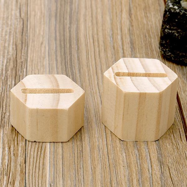 1 Soporte Par Anillo de madera plaza hexagonal reutilizable de almacenamiento en rack joyería y accesorios de escritorio liso polaco de la vendimia del soporte de exhibición