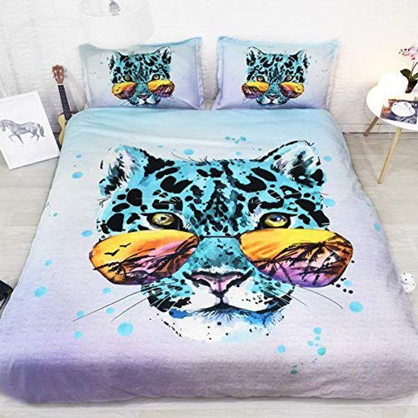 Purple Green Blue Bedding Leopard Duvet Cover Queen Full Leopard Comforter Cover Leopard Print Bedspread King Size queen comforter cover set