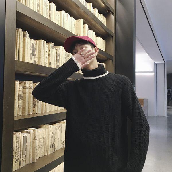 FDWERYNH Stehkragen dicken Pullover koreanisch warme Strickpullover koreanische Streetwear Trend Jugend Herren Pullover