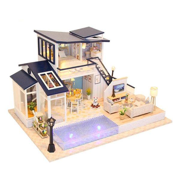 Creative Blue Home DIY Puzzle Montar Casa de Muñecas Casa de Madera en Miniatura Juguetes para Niños Regalos de Cumpleaños