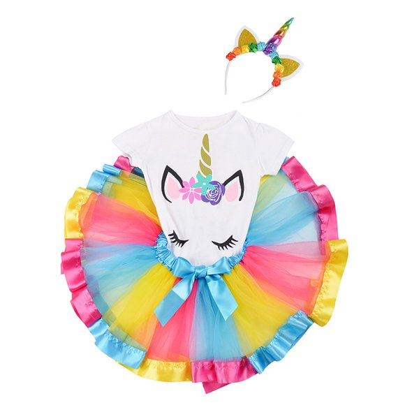 Unicorn Girls Tutu Dress 8 styles unicorn T-shirt +dresses +Head hoop 3 piece suit kids designer clothes girls princess dress JY190
