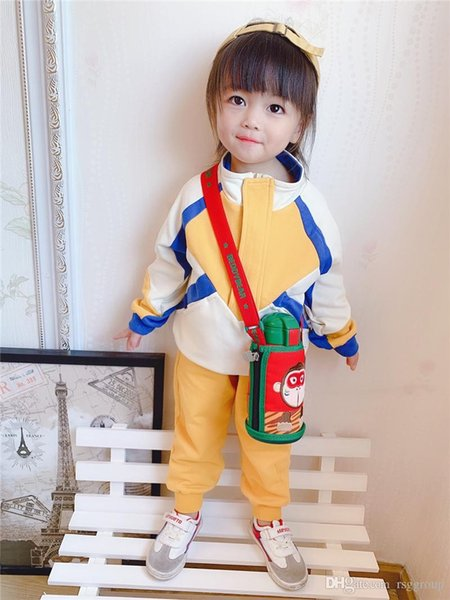 New INS Stylish Unique Designs Kids Girls Tracksuits Clothing Sets Patchwork Sports Baseball Style Long Sleeve Front Zipper Children Clothes
