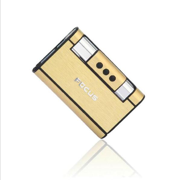La más nueva marca de almacenamiento de la caja del sostenedor del cigarrillo con el encendedor a prueba de viento sin llama Encendedor recto NINGUÌ N estuche de cigarrillo del tabaco de gas Regalo más ligero de la manera