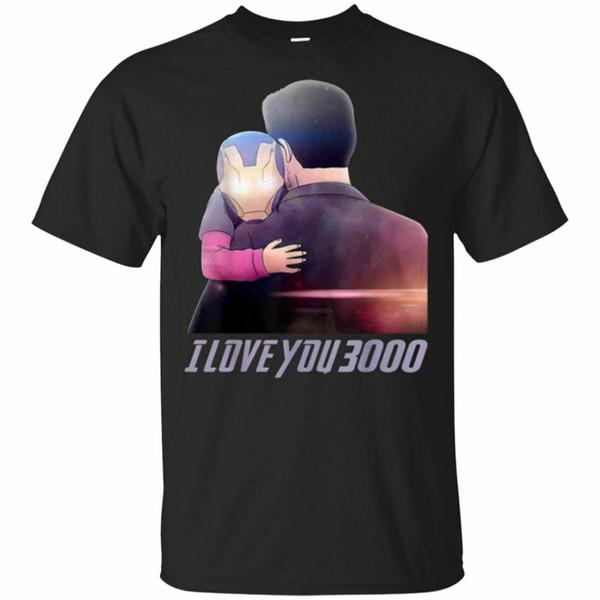 Homme de fer je t'aime 3000 T-shirt noir et bleu marine S-3XL