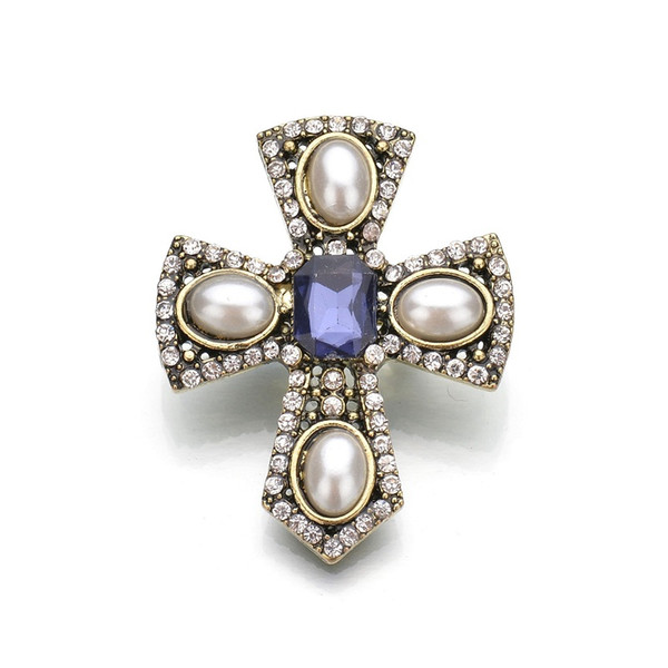 Real Shooting Cameo Simulated Pearl Brooches For Women Rhinestone Cross Metal Pin Vintage Brosh 2019 New b71