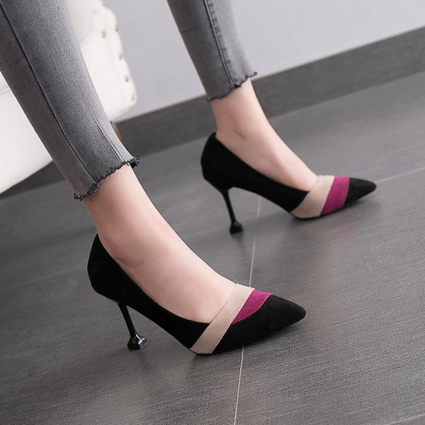 Designer Dress Shoes Autumn new women's high heels Korean fashion color matching high-heeled single pointed shallow mouth casual work