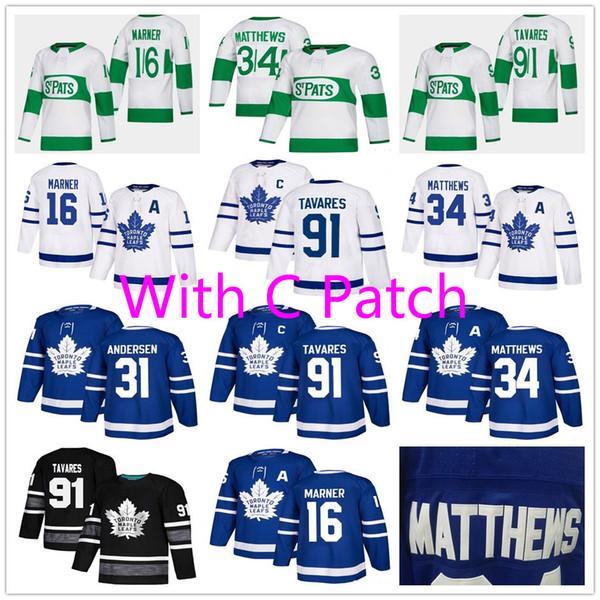 top popular Men Youth Women 91 John Tavares Captain C Patch Mitch Marner 34 Auston Matthews A Patch Frederik Andersen Toronto Maple Leafs Hockey Jerseys 2019