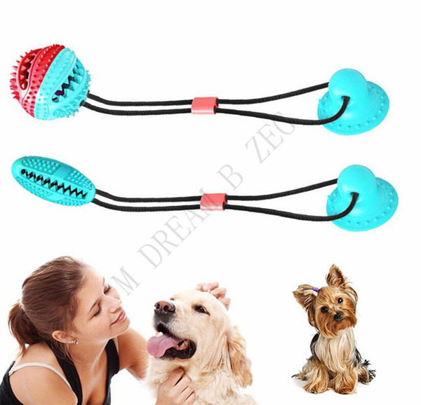 best selling 4 Colors Multifunction Pet Molar Bite Toy Interactive Fun Pet Leakage Food Toys With Suction Cup Pets Ball Toy Pet Dog Toys Rubber