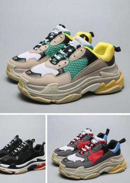 NEW Designer Daddy comfoTriple SFashion Paris 17FW Triple-S Sneaker Triple S Casual Dad Shoes for Men's Women Beige Black Sports Tennis Shoe