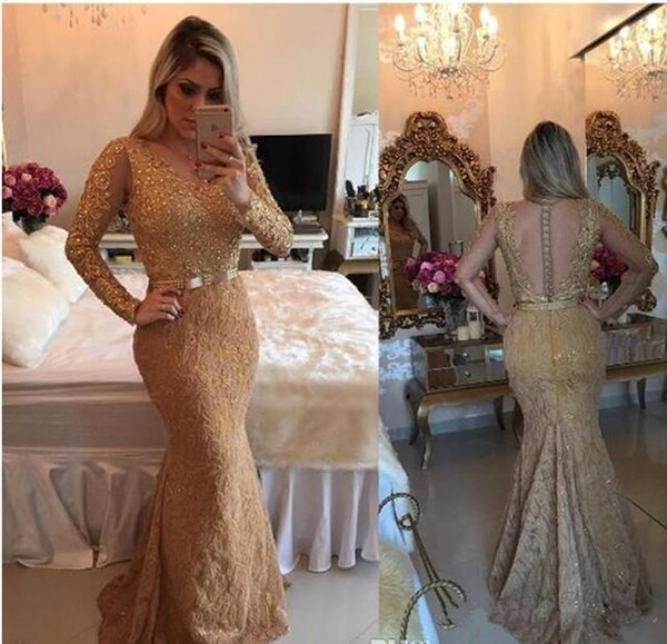 2019 Gold Illusion Sheer Long Sleeves Mermaid Prom Dresses Beaded Full Lace Applique Evening Dress Luxury Custom Made Formal Party Gowns