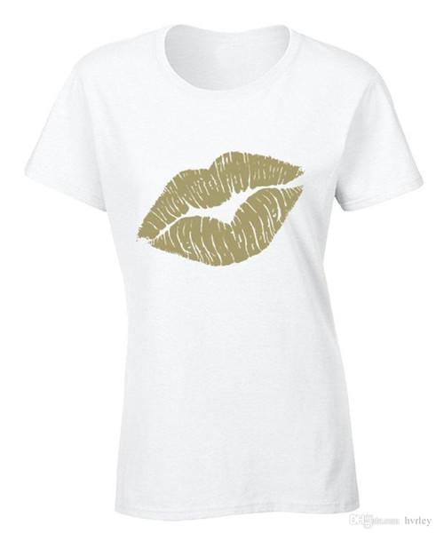 Moda 2018 Verano Labios de las Mujeres Camiseta de Labios de Oro Beso Labios Calientes Camisa de Moda Sexy Camiseta de los hombres camiseta Tops Tees