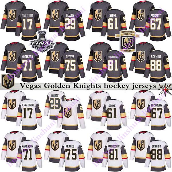 best selling Mens Kids Women 2019 Vegas Golden Knights jersey 29 Marc Andre Fleury 61 Mark Ston 75 Ryan Reaves 71 William Karlsson hockey jersey