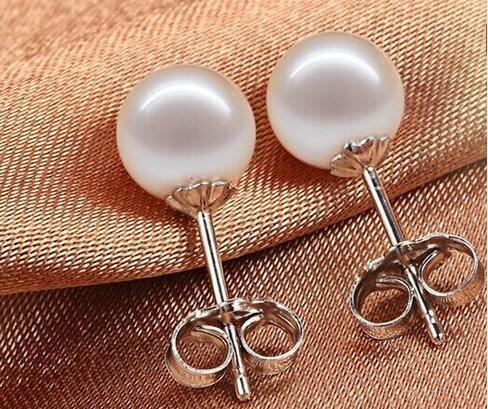 13 MM Mar del Sur NATURALE genuino blanco perla pendientes pendiente 14 k