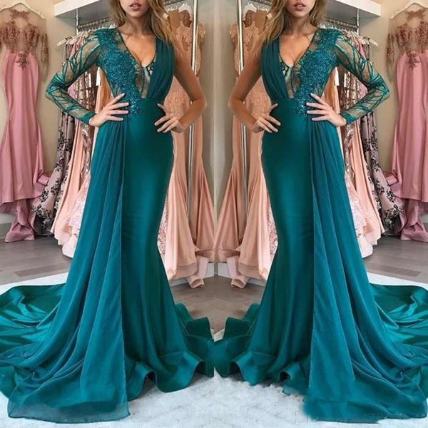 Sexy Mermaid Formal Evening Dresses Long 2019 Illusion V Neck One Long Sleeve Lace Applique Arabic Dubai Style Prom Party Gowns Party Dress
