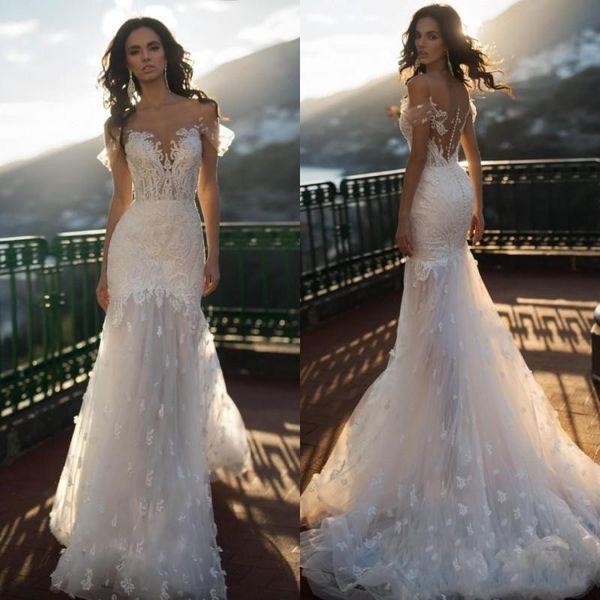 top popular Naviblue 2020 Full Lace Wedding Dresses Off Shoulder Appliqued Beading Mermaid Bridal Gowns Sweep Train Beach Wedding Dress vestido de novia 2019