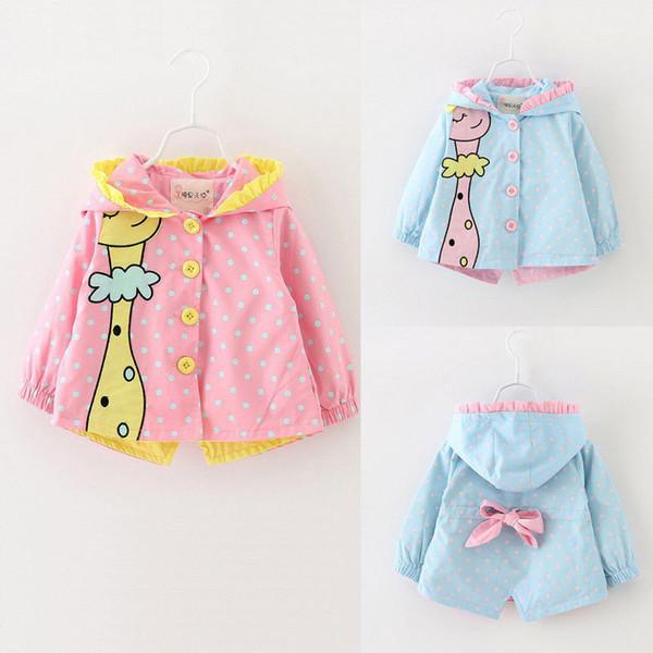 Brasão Girafa dos desenhos animados da criança bebés Manga comprida Windbreaker Outwear Azul Rosa Casaco de Kawaii com capuz