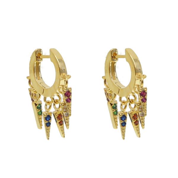 Gold color trendy Multi piecing delicate earrings rainbow cz spike charms Mini circle hoop earring