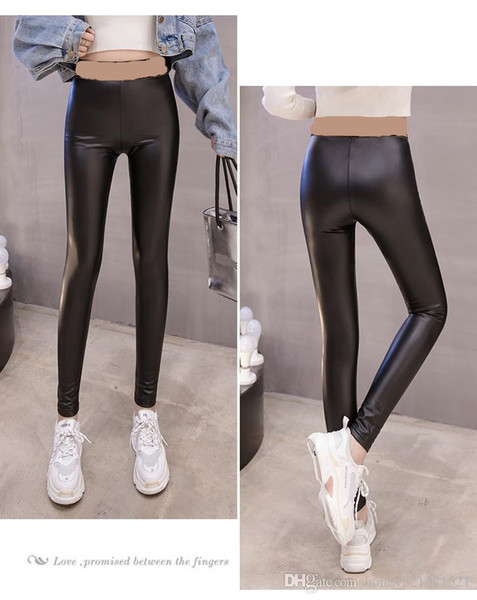 best selling 2020 new women's autumn winter letter print bandage elastic waist bodycon tunic PU leather long pants leggings tights