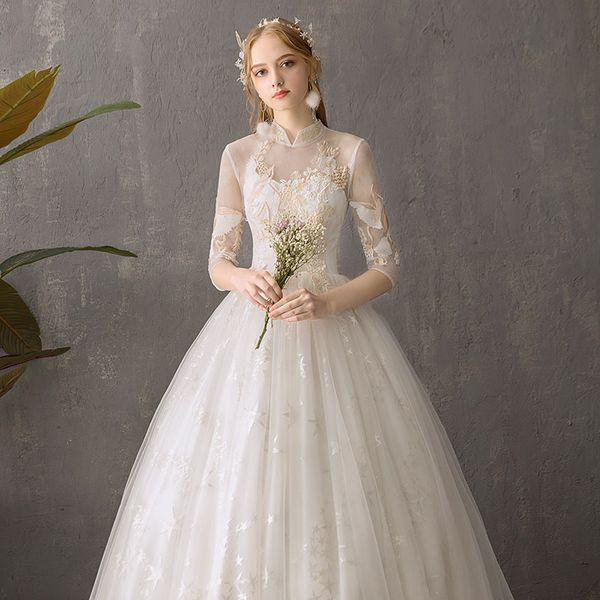 Long Sleeve Wedding Dress New Come Superb Quality Workmanship Garment For Girls Wearing 2019 Fashion Style Wedding Dresses For Guests Wedding Gown