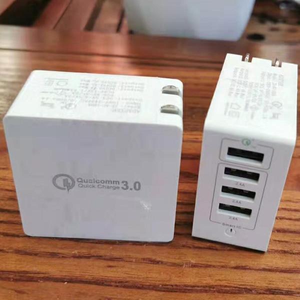 Pieghevole QC 3.0 4 USB Wall Charger 5V / 3.4A, 9V / 2A, 12V / 1.5A 5V 2.4A per il telefono astuto 20pcs / lot