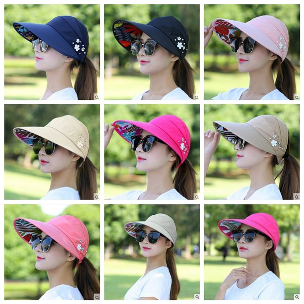 Sun Visor Ponytail Hat women Wide Brim floral Protection Cap foldable sunhat Summer floppy Beach Packable Outdoor hats AAA2002