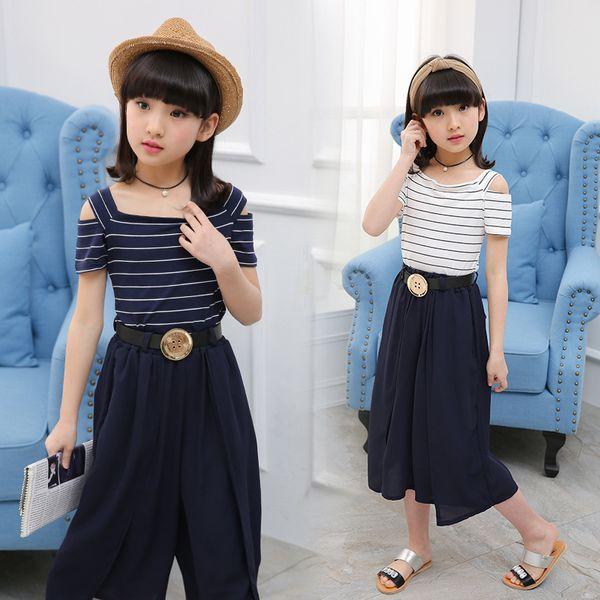 Bebek Kız 'Giyim Yaz Çocuk Çocuk Setleri Pamuk Iki Parçalı Çizgili Eğilim Tatlı Omuz Şort + Geniş Bacak Pantolon Suit
