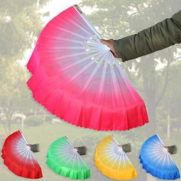 Dance Fans Fashion Gradient Color Chinese Real Silk Dance Veil Fan KungFu Belly Dancing Fans For Wedding Party Gift Favor 15pcs
