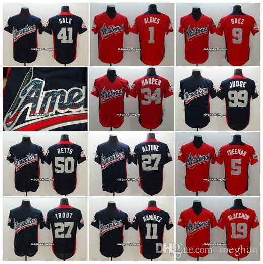 2018 All-Star-Amerikaner 27 Mike Trout 11 Jose Ramirez 41 Chris Sale 19 Charlie Blackmon 1 Ozzie Albies 9 Javier Baez Baseball-Trikots