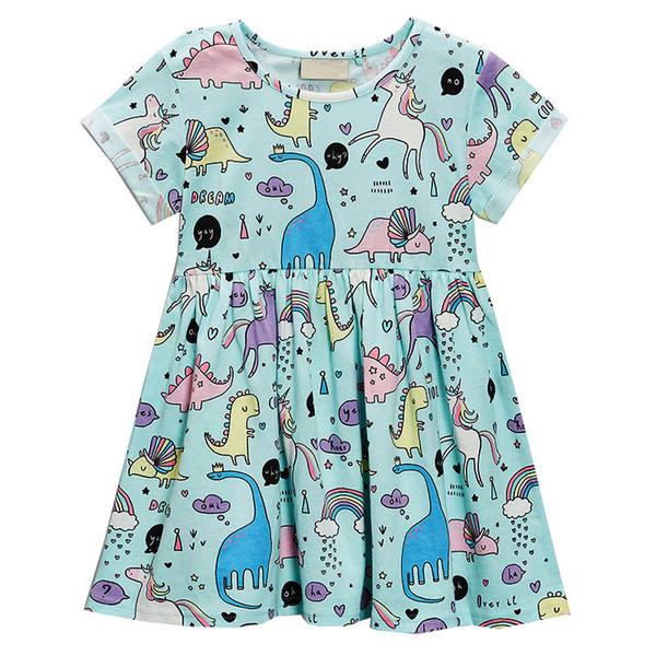 Little Girl Unicorn Dress Малыша Повседневная Раффлед Платье Свинг 18M до 6T