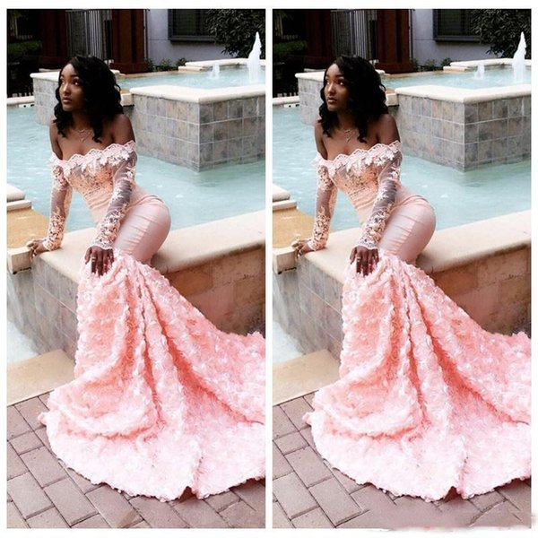 Sexy Black Girls Mermaid Prom Dresses Long Sleeve 2019 Light Pink Bateau Neck Top Lace Appliqued African 3D Floral Evening Gowns Party Wear