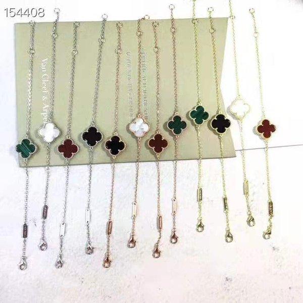 stile caldo vende moda classico a quattro foglie di trifoglio braccialetto singolo fiore placcato oro versatile braccialetto