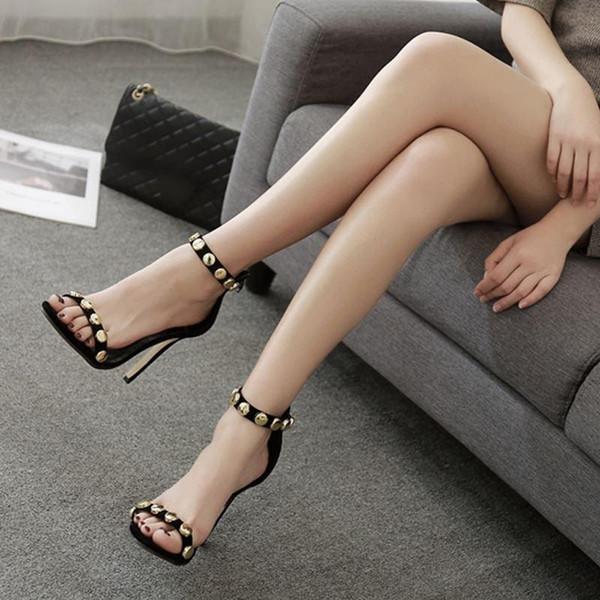 실제 이미지 여성 샌들 파티 신발 리벳 섹시한 버클 스트랩 하이힐 사용자 정의 만든 플러스 SU4-US15 파티 숙녀 신발 저렴한 겸손