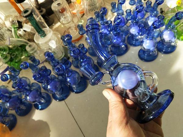 mini riciclatore tamponare rig bong da 7 pollici mini pipa ad acqua in vetro inebriante piattaforma petrolifera blu di colore rosa gorgogliatore pipa con banger quarzo