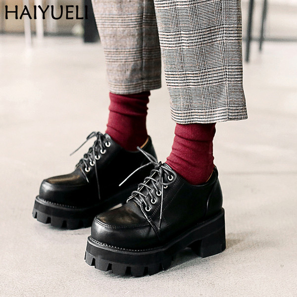 Womens Boots Ankle Women High Heels Punk Style Platform Shoes Black Lace Up Vintage Shoes 5.5cm High Heel Ankle Boots
