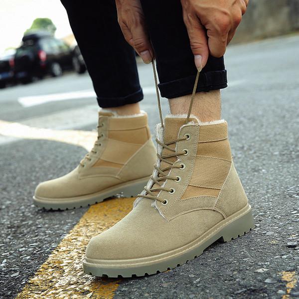 DJSUNNYMIX 2018 Men Desert Tactical Military Boots Mens Work Safty Shoes Warm winter plus cotton Lace-up Combat Ankle Boots