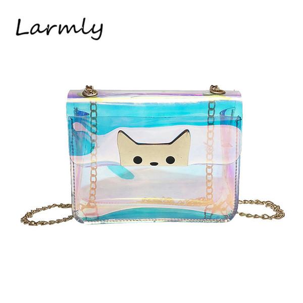 Women Girl Fashion Transpartent Cute Cat Candy Bag Crossbody Shoulder Messenger Bags PVC Waterproof Vintage Mini Handbag @P