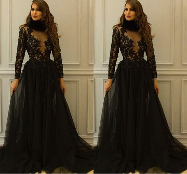 Vintage High Neck Long Sleeves Evening Prom Dress Sexy See Through Top A line Tulle Applique Lace Cheap Party Formal Gowns Pageant Dresses