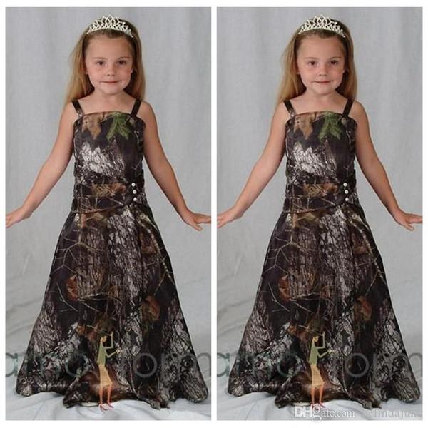 Cheap Spaghetti Satin Camo Flower Girls Dresses Floor-Length Formal Camouflage Kids Children Formal Wedding Party Bridesmaid Dresses