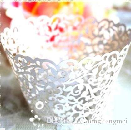 120pc free shipping new White Vine filigree Laser cut Lace Cup Cake Wrapper Cupcake Wrapper FOR Wedding christmas Party Decoration 37EC