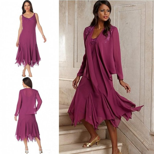 Vintage Plum Elegant Chiffon Plus Size Mother Of The Bride Dresses With Jacket Tea Length Groom Pant Suits Gowns For Weddings