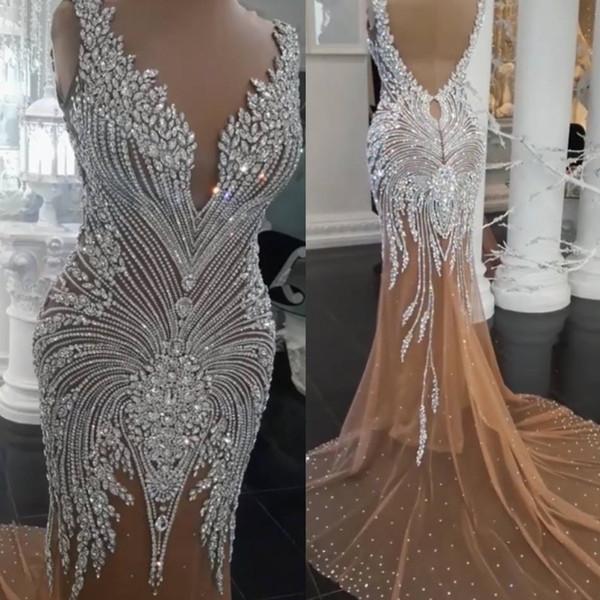 Vestidos de noche formales con cristales árabes 2019 lentejuelas sin mangas de sirena ver a través de Bodice Sweep tren de fiesta vestidos de fiesta por encargo