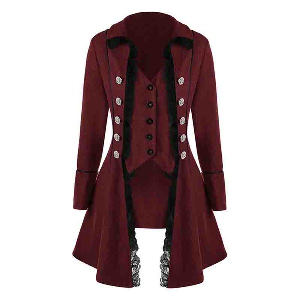 LASPERAL Women Lace Button Long Sleeve Tailcoat Victorian Style Coat Gothic Corset Rock Cosplay Womens Jackets Coats Court Style