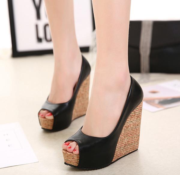 Großhandel Frauen Pumpt Plattform Peep Toe Wedges Schuhe Für Frauen Komfort High Heels 12 Cm Ferse Schuhe Frühling Womens Schuhe Fersen Von